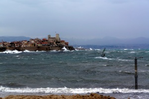 Notice the windsurfer.  Even though many will avoid the Sea during a storm, it provides an opportunity for sports.