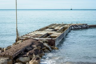 A dock in Juan-les-Pins extending into the Golf Juan.