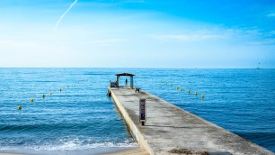 A jetty on a walk toward Golf-Juan in southern France.