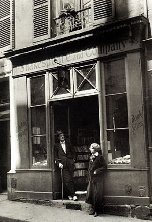 Sylvia Beach and James Joyce at Shakespeare and Company at 8 rue Dupuyrten.
