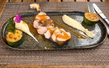 Main dish: Mignon de cochon poêlé, aigre doux abricot