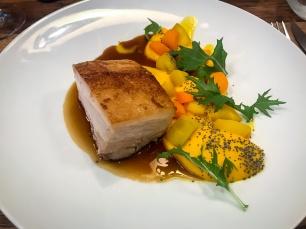 Poitrine de Cochon fondante, purée de carotte à l'or
